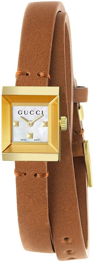 Gucci G-Frame Leather Wrap Strap Watch, 14mm x 18mm