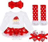 YiZYiF Baby Girl's My First Christmas Costume Party Jumpsuit 4 Pieces Tutu Clothing Set