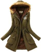 Allonly Women's Slim Thickened Long Down Faux Fur Hood Cotton Coat