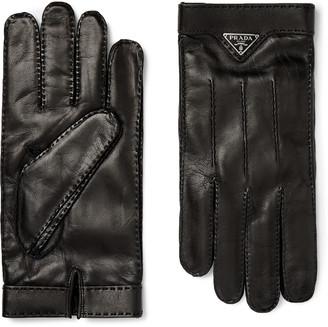 Prada Logo-Embellished Cashmere-Lined Leather Gloves