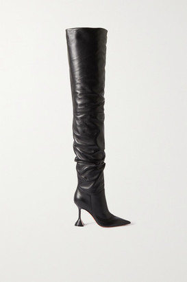 Amina Muaddi Olivia Leather Thigh Boots - Black