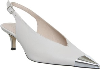 Office Melodramatic Metal Toe Slingback Heels Off White Leather