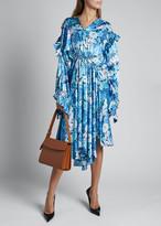 Balenciaga Floral Silk Satin Long-Sleeve High-Neck Gathered Dress