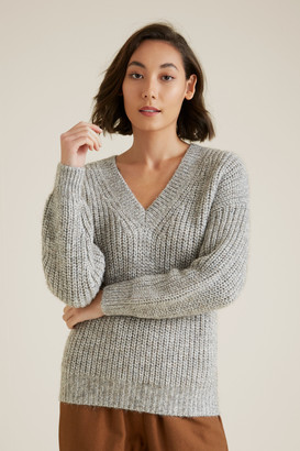 Seed Heritage V Neck Chunky Sweater