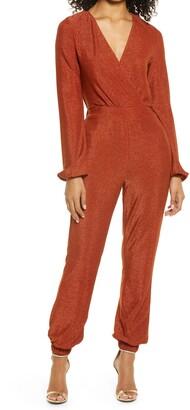 Bebe Metallic Knit Long Sleeve Jumpsuit