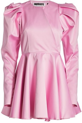 Rotate by Birger Christensen Pauline Puff-Sleeve Satin Mini Dress