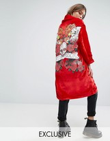 One Above Another Kimono In Velvet With Anti Social Eagle Back Print