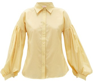 Le Sirenuse Positano Le Sirenuse, Positano - Tiger Balloon-sleeve Cotton-blend Shirt - Yellow