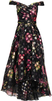 Marchesa Off-the-shoulder Floral-print Metallic Fil Coupe Organza Gown