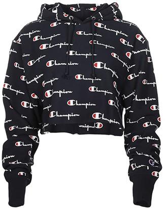 Champion Reverse Weave(r) Crop Hoodie - Multi Script (Navy Multi) Women's Clothing