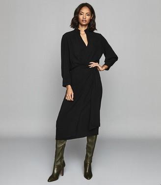 Reiss PRIYA WRAP FRONT SHIFT DRESS Black