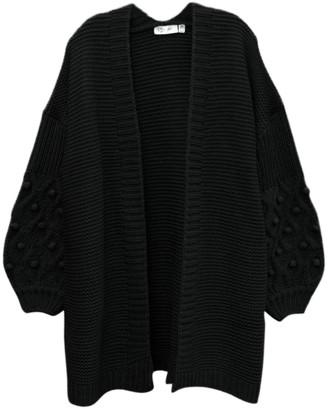 Cloth By Design Pompom Sleeve Open Cardigan