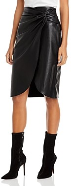 Lucy Paris Faux Wrap Faux Leather Skirt