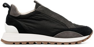 Brunello Cucinelli Satin Trainers With Beaded Detailing