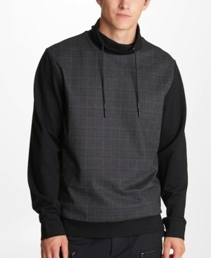 Karl Lagerfeld Paris Men's Plaid Front and Solid Back Sweatshirt