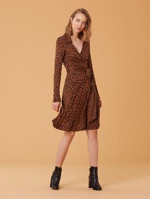 Diane von Furstenberg Long Sleeve Collared Wrap Dress