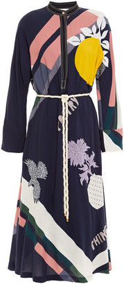 Tory Burch Belted Appliqued Printed Mousseline Dress