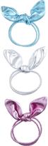 Accessorize 3x Bunny Bow Metallic Hair Scrunchies