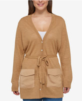 Tommy Hilfiger Plus Size Satin-Back Belted Cardigan