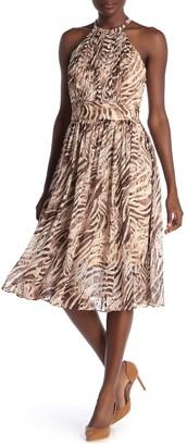Elie Tahari Dominica Animal Print Midi Dress