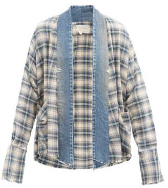 Greg Lauren Colyton Plaid Cotton-flannel Shirt - Blue