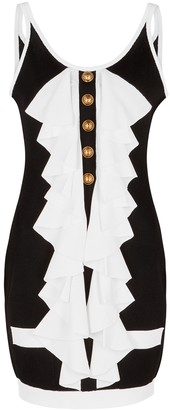 Balmain Monochrome ruffle-trimmed knitted mini dress