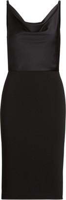Ralph Lauren Satin-Crepe Cowlneck Dress