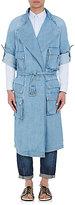 Balmain Men's Denim Belted Trenchcoat-LIGHT BLUE