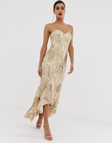 Bariano embellished patterned sequin sweetheart maxi dress dress in gold