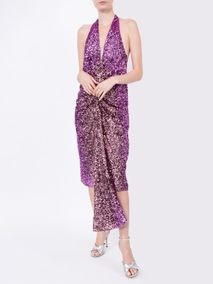 Halpern Purple Sequined Dress