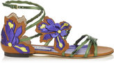 Jimmy Choo LOLITA FLAT Canyon Mix Mirror Leather and Vaccetta Sandals