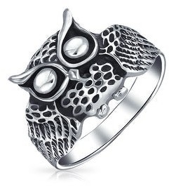Bling Jewelry Protection Old Wise Owl Bird Band Ring Oxidized 925 Sterling Silver
