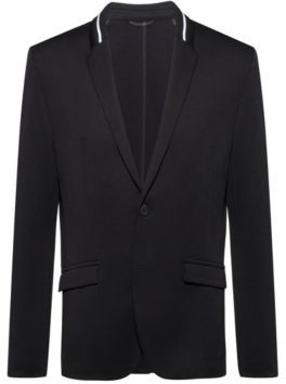 HUGO BOSS - Regular Fit Tailored Jacket With Knitted Collar Stripe - Black