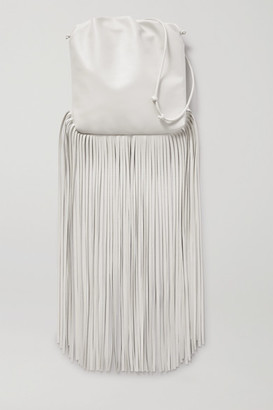 Bottega Veneta The Fringe Pouch Gathered Leather Shoulder Bag - White