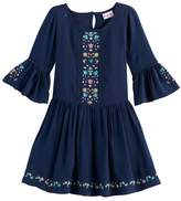 Nannette Toddler Girl Embroidered Bell Sleeved Dress