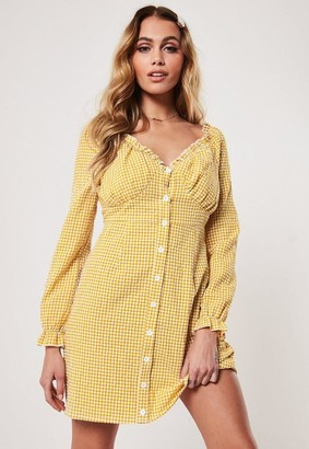 Missguided Petite Yellow Gingham Milkmaid Mini Dress