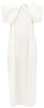 Jil Sander Gabi Off-the-shoulder Cotton-blend Poplin Dress - White