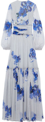 Costarellos Gathered Floral-print Chiffon Gown