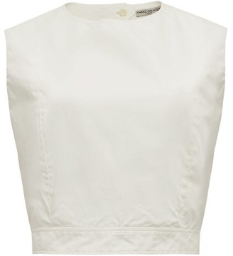 Three Graces London Rosie Cutout-back Cotton-poplin Top - White
