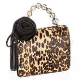 Black Leopard Print Calf Hair and Leather Mini Bag
