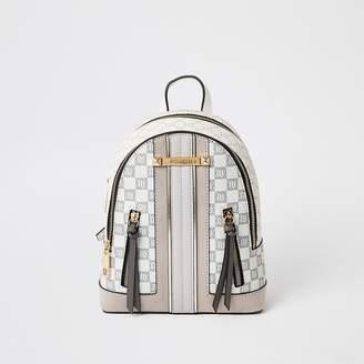 River Island Grey RI checkerboard zip front backpack