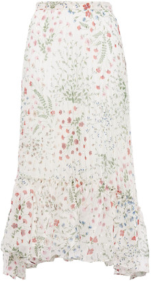 Joie Noora Asymmetric Fil Coupe Printed Crepe Midi Skirt