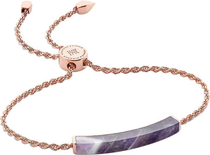 Monica Vinader Linear 18ct rose gold-plated and amethyst bracelet