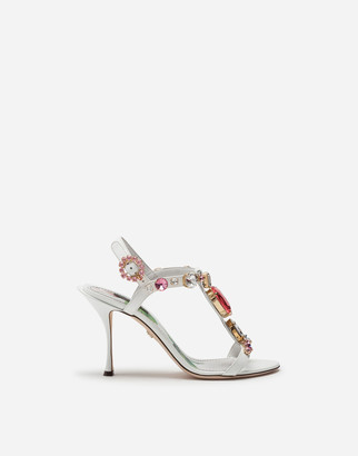 Dolce & Gabbana Patent Leather T-Strap Sandals With Stone Embroidery
