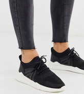 Asos Design DESIGN Wide Fit Discipline knitted sneakers in black
