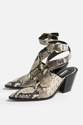 Topshop HUXLEY Leather Snake High Ankle Boots