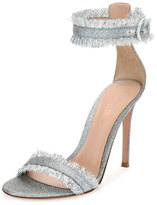Gianvito Rossi Fringed Glitter Fabric d'Orsay Sandal, Silver