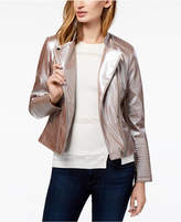 Bar III Metallic Faux-Leather Moto Jacket, Created for Macy's