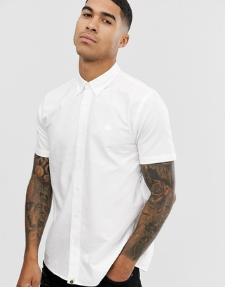 Pretty Green short sleeve oxford shirt in white