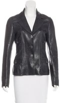 Chanel Leather Button-Up Blazer